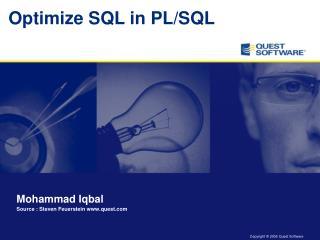 Optimize SQL in PL/SQL