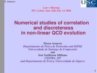 Numerical studies of correlation and discreteness in non-linear QCD evolution