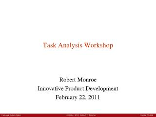 Task Analysis Workshop