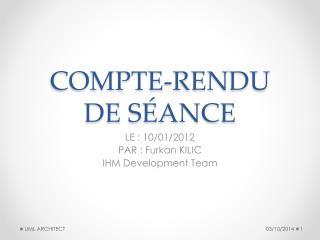 COMPTE-RENDU  DE SÉANCE