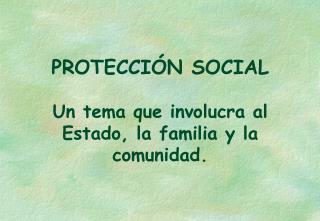 PROTECCIÓN SOCIAL Un tema que involucra al Estado, la familia y la comunidad.
