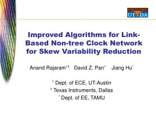 Improved Algorithms for Link-Based Non-tree Clock Network for Skew Variability Reduction