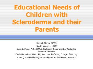 Educational Needs of Children with Scleroderma and their Parents