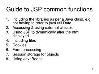 Guide to JSP common functions