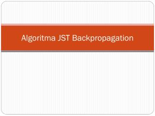 Algoritma  JST  Backpropagation