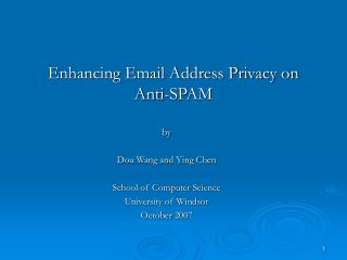 Enhancing Email Address Privacy on Anti-SPAM
