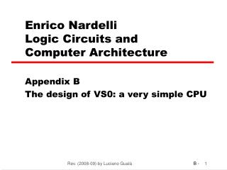 Enrico Nardelli Logic Circuits and  Computer Architecture