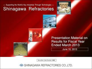 Presentation Material on Results for Fiscal Year Ended March 2013