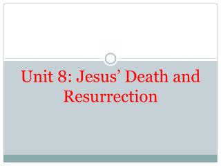 Unit 8: Jesus' Death and Resurrection