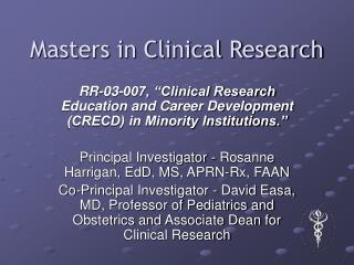Masters in Clinical Research