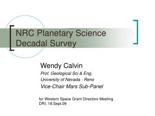 NRC Planetary Science Decadal Survey