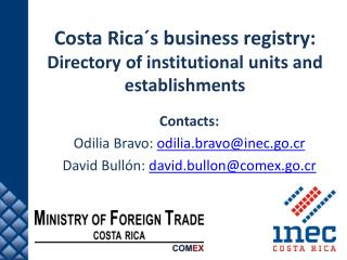 Costa Rica´s business  r egistry: Directory of  institutional  u nits  and  establishments