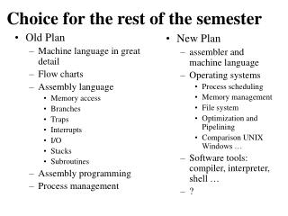 Choice for the rest of the semester