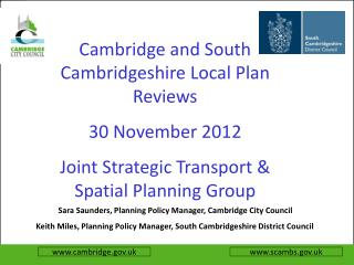 Sara Saunders, Planning Policy Manager, Cambridge City Council