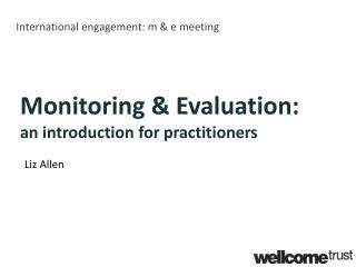 International engagement: m & e meeting