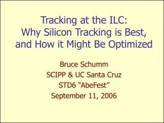 Tracking at the ILC: Why Silicon Tracking is Best, and How it Might Be Optimized