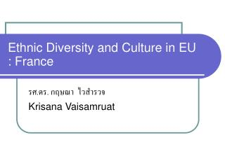 Ethnic Diversity and Culture in EU : France