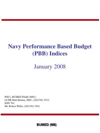 Navy Performance Based Budget (PBB) Indices