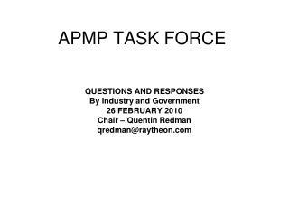 APMP TASK FORCE