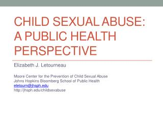 Child Sexual Abuse: A Public Health Perspective