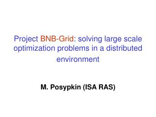 Project  BNB-Grid : solving large scale optimization problems in a distributed environment