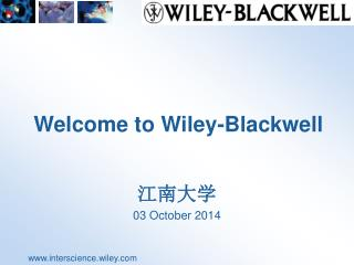 Welcome to Wiley -Blackwell