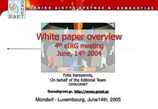White paper overview 4 th  eIRG meeting June, 14 th  2004