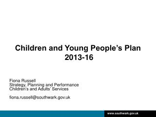 Children and Young People's Plan  2013-16