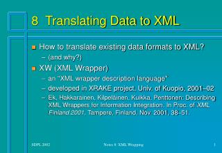 8  Translating Data to XML