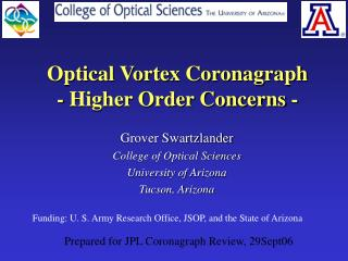 Optical Vortex Coronagraph - Higher Order Concerns -