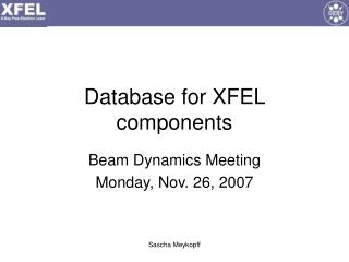 Database for XFEL components