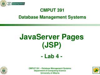 JavaServer Pages (JSP) - Lab 4 -