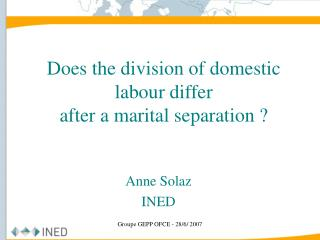 Does the division of domestic labour differ  after a marital separation ?