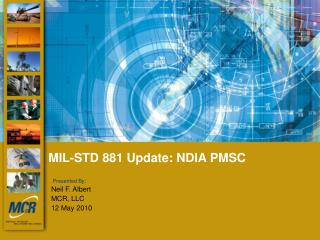 MIL-STD 881 Update: NDIA PMSC