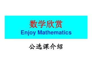 数学欣赏 Enjoy Mathematics