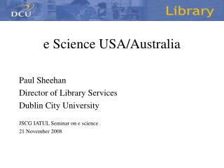 e Science USA/Australia