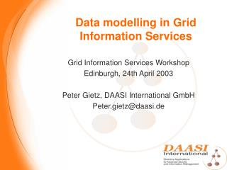 Data modelling in Grid Information Services