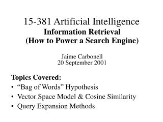 15-381 Artificial Intelligence