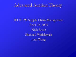 Advanced Auction Theory