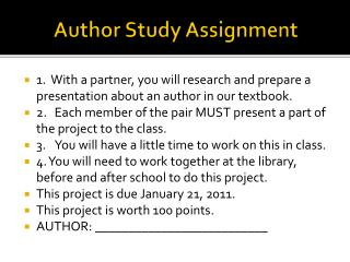 Author Study Assignment