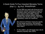 A Quick Guide To Four Important Monetary Terms  Part 1    By Prof. Simply Simple