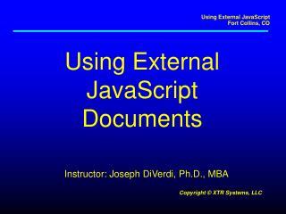 Using External JavaScript Documents