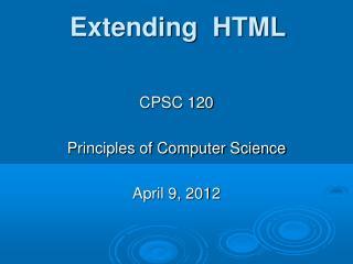 Extending  HTML