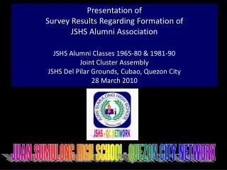 Presentation of  Survey Results Regarding Formation of  JSHS Alumni Association