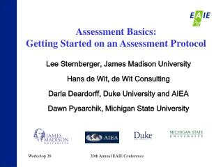 Assessment Basics:  Getting Started on an Assessment Protocol