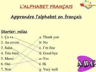 L'ALPHABET FRAN Ç AIS Apprendre l'alphabet en français