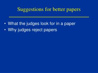 Suggestions for better papers