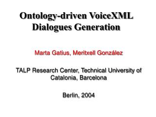 Ontology-driven VoiceXML Dialogues Generation