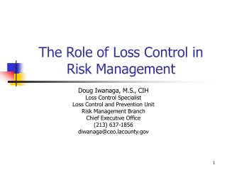 The Role of Loss Control in Risk Management