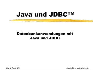 Java und JDBC TM